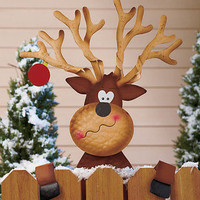 Metal Holiday Reindeer Fence Topper Outdoor Yard Garden Christmas Seasonal Decor