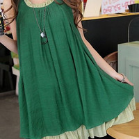 Green Sleeveless Flouncing Dress
