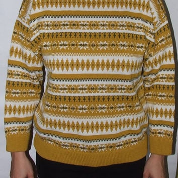 Norway Sweater Norwegian sweater/Scandinavian jumper /Yellow White winter sweater/ ESTELLE /Nordic Fair/isle pattern / unisex mens women / M