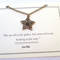Star & Flower Charm Necklace - Oscar Wilde Quote
