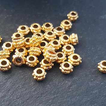 30 Tiny Bobble Detail Collar Bead Spacers - 22K Matte Gold Plated