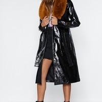 Falling Fur You Faux Fur Trench Coat