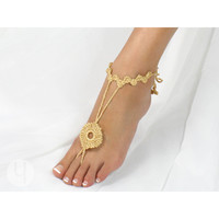 Crochet Zinnia Anklet Golden Tan