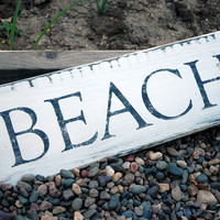 Rustic Beach Sign, Wall Decor, Hand Painted Distressed Wood Finish 15x5.5