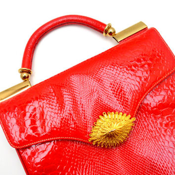 Amazing Vintage Red Faux Snakeskin Purse with Gold Tone Clasp and Hardware, Stunning, circa 1970s-1980s