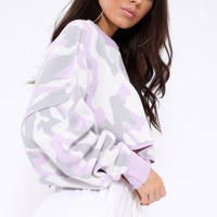 LILAC CROPPED BATWING CAMO JUMPER - LIZY
