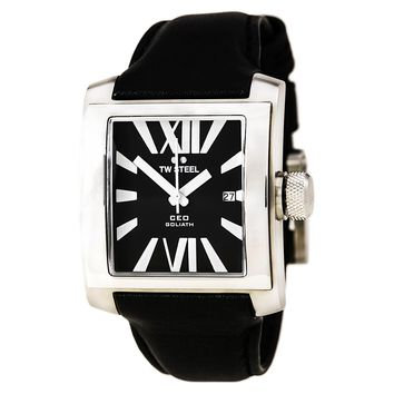 TW Steel CE3004 Men's CEO Goliath Black Leather Strap Black Dial Watch