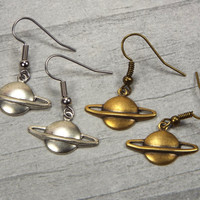 Planet Saturn Earrings, Silver Plated or Brass