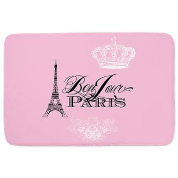 Bonjour Pink Paris Bath Mat - bathroom Decor, rubber backed, memory foam, cute Paris, French, Eiffel Tower