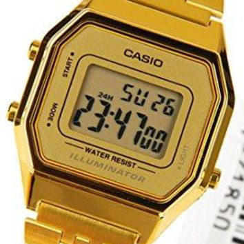 Casio Ladies Mid-Size Gold Tone Digital Retro Watch LA-680WGA-9DF