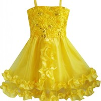 Sunny Fashion Girls Dress Yellow Shinning Sequins Wedding Party Pageant