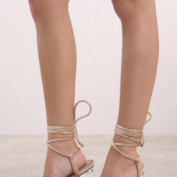 Sasha Lace Up Lucite Heels