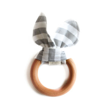 Wooden Baby Teether Gray Stripes