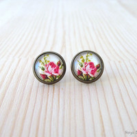 Rose Cabochon Earrings - Antique Brass Post Earrings - Glass Dome