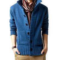 Men Stand Collar Cardigans Sweaters Button Knitted Coats Korean Style Jacket Top