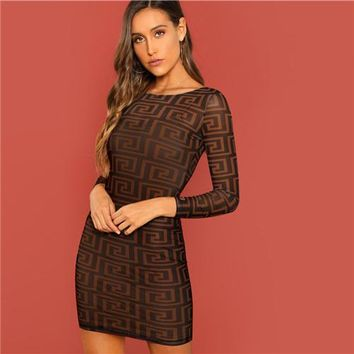Own Greek Key Print Short Bodycon Dress