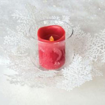 Candle Holder - Bright White Snowflake