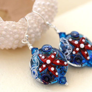 Blue Lampwork earrings beachy handmade glass beads by MayaHoney