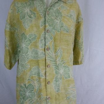 Tommy Bahama Men's 100% Linen Hawaiian Camp Floral Yellow Green Shirt - L Large