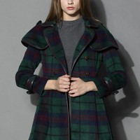 Double Breasted Woolen Skater Coat in Check