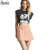 Amoin Fashion High Waist Female Denim Jeans Short Skirts New 2017 Women Summer Casual Single-breasted A Line Skater Skirt