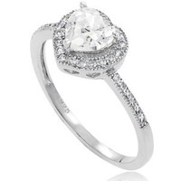 Alexandria Collection Sterling Silver Cubic Zirconia Heart Bridal and Engagement Ring