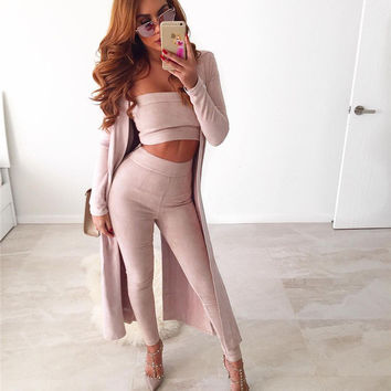 Heidi Pink Suede Two-Piece Jumpsuit