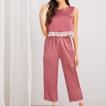 Eyelash Lace Satin Pajama Set