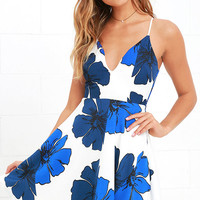 Pretty Pop Blue and Ivory Floral Print Skater Dress