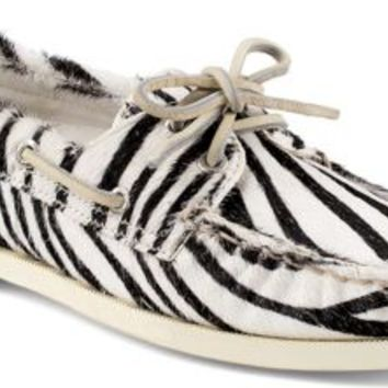 Sperry Top-Sider Authentic Original 2-Eye Boat Shoe by Jeffrey ZebraPonyHair, Size 8M  Women's Shoes