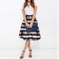 Striped Printed Casual Knee-Length Skirt