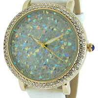 Leather Strap CZ Bezel Inlaid Crystal Watch - White
