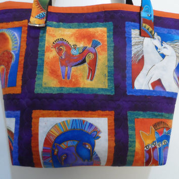 Laurel Burch Tote Bag - Handmade Tote Bag - Mystical Horses Tote Bag - Tote Bag - Laurel Burch Print - Handbag Tote Bag - Market Tote Bag