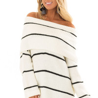 Cream and Black Striped Off the Shoulder Fold Over Sweater