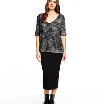 Michael Stars Elbow Roll Sleeve V-Neck with Smoke Wash