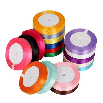 Hot 18 Colors 15mm Satin Ribbon for DIY Bow Craft Decor Wedding Party Decoration Gift Wrapping Scrapbooking Supplies 25 Yards
