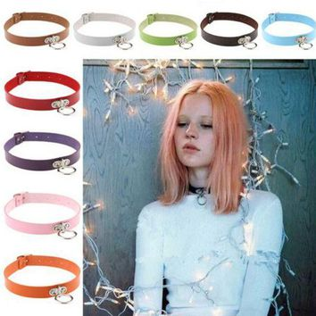 ac NOOW2 Fine quality Harajuku Punk Collar Choker Necklace PU Leather Choker Punk Goth 41*2cm