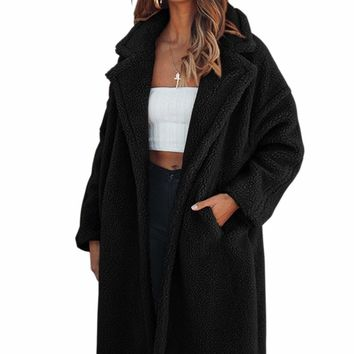 Black Oversize Furry Long Coat