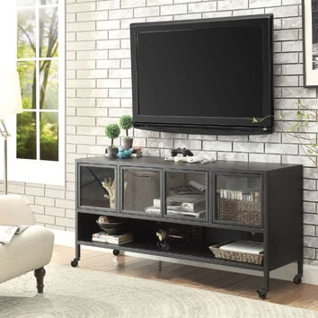 "Furniture of america CM5907-TV-60 Edvin industrial style black finish metal 60"" tv console"