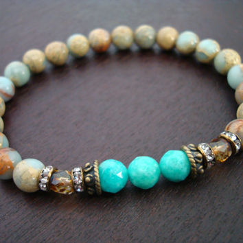 Women's Anti-Anxiety Mala Bracelet - African Opal & Amazonite Mala Bracelet - Yoga, Buddhist, Meditation, Jewelry