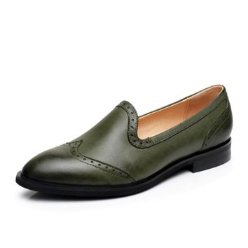Genuine leather woman designer vintage flat shoes round toe handmade green blue brown oxford shoes for women