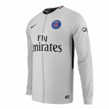 KUYOU PSG 2017/18 Grey Men Goalkeeper Long Sleeve Soccer Jersey Personalized Name and Number