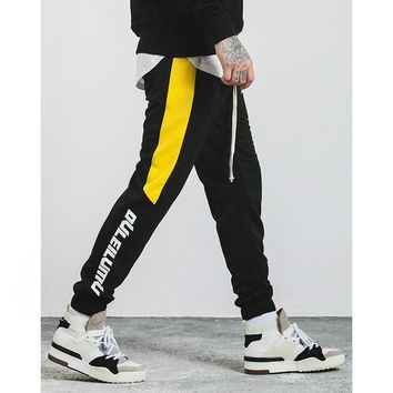 High Quality Hit Color Striped English Letter Printing Men Skateboard Trousers Fashion Hip Hop Streetwear Joggers Sweatpants