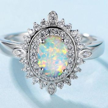 Sterling Silver Ring, Luxury Oval Opal Ring, with Cubic Zirconia