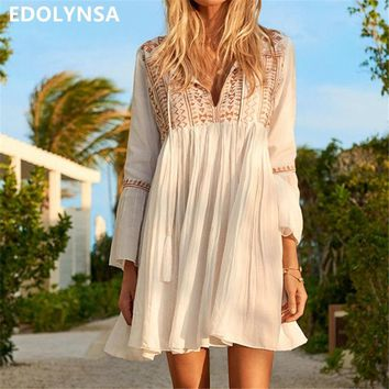 Sexy Deep V Neck Self Tie Patchwork Long Sleeve Boho Midi Dress White Cotton Ruffle Tassel Loose Summer Beach Tunic Dress N510