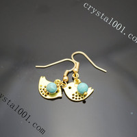 Natural turquoise earrings,  cute bird earrings, gold earrings, genuine chakra s