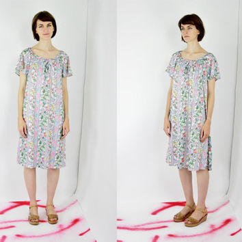 vtg 80s pastel floral paisley day dress striped shift dress wallpaper print patterned dress midi dress keyhole neck medium med lrg large