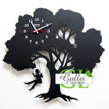 Tree Swing Girl Pendulum Unique Wall Clock Gift - GULLEITRUSTMART.COM