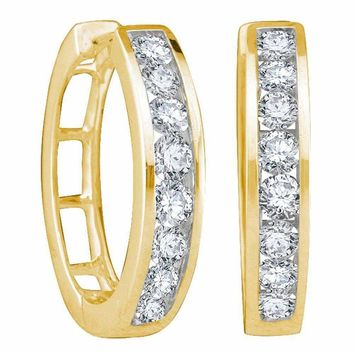 14kt Yellow Gold Women's Round Channel-set Diamond Hoop Earrings 1.00 Cttw - FREE Shipping (US/CAN)