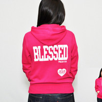JCLU Forever Christian t-shirts — ZIPHOODIE-BLESSED-PINK